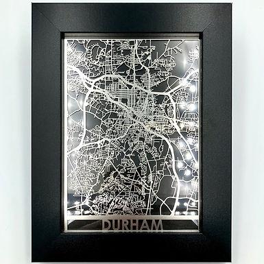 Laser-cut Durham Map