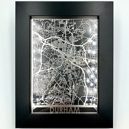 Laser-cut Durham Map