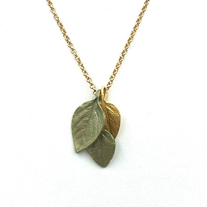 Triple Leaves Long Necklace