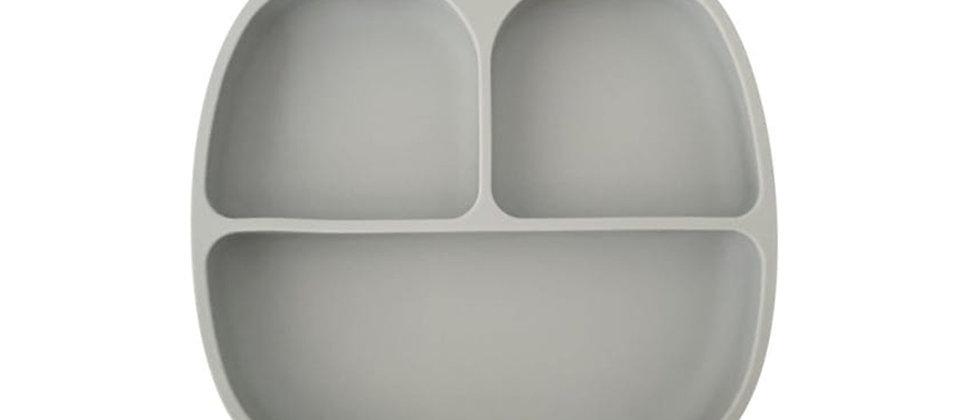 Assiette 3 compartiments silicone gris