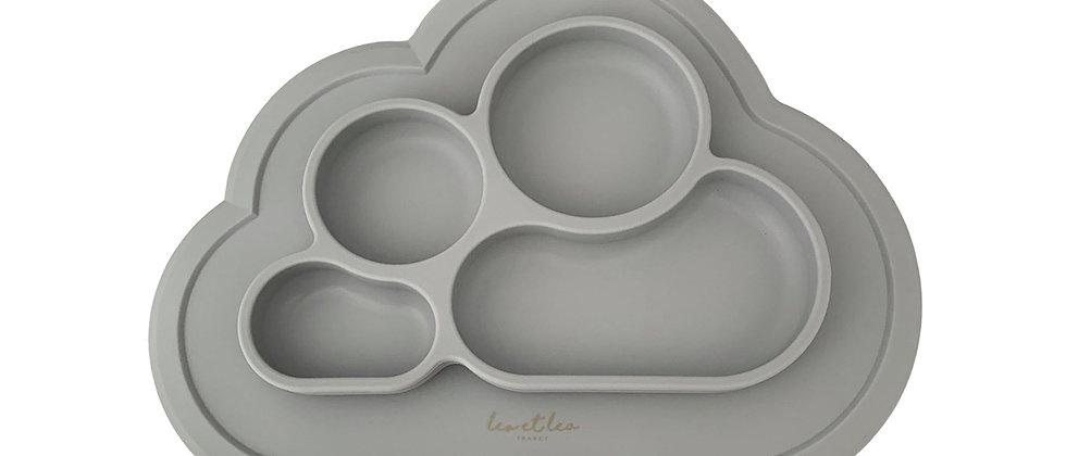 Assiette 4 compartiments silicone gris