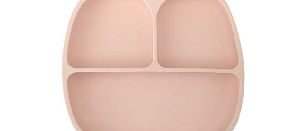 Assiette 3 compartiments silicone rose tendre
