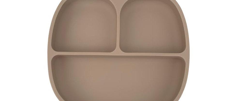 Assiette 3 compartiments silicone beige