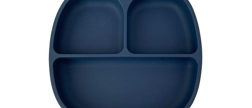 Assiette 3 compartiments silicone Bleu profond