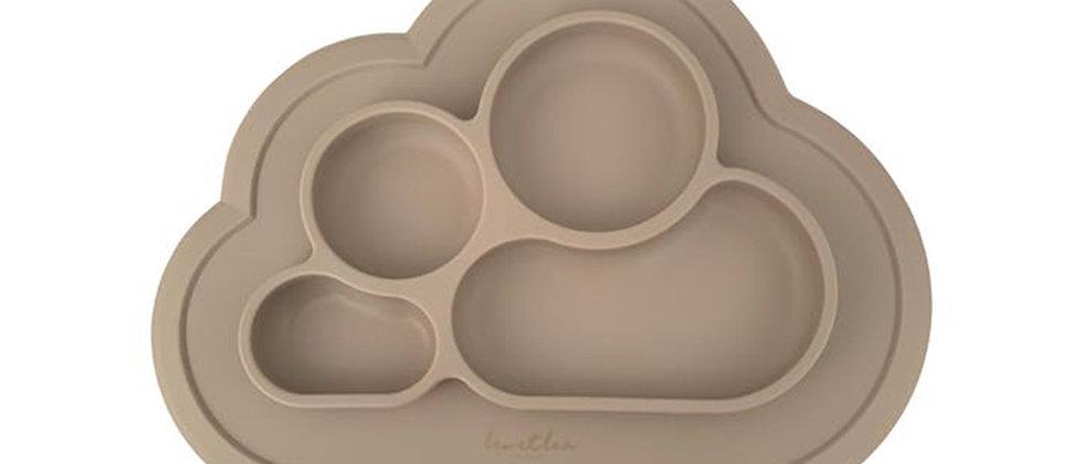 Assiette 4 compartiments silicone beige