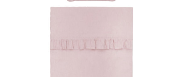 Couverture et oreiller garnis lin rose