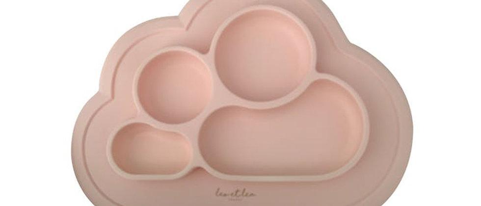 Assiette 4 compartiments silicone rose tendre