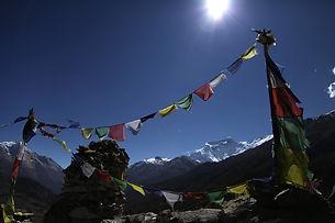 Népal, Bouddha, bouddhisme, montagne, drapeaux de prière