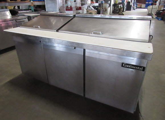 """Continental Refrigerator SW72N30M-FB 72"""" Front Breathing Mighty Top Sandwich/Sal"""