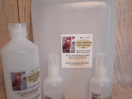 Just Primal Hand Sanitiser 80% Ethanol made in Gloucestershire!