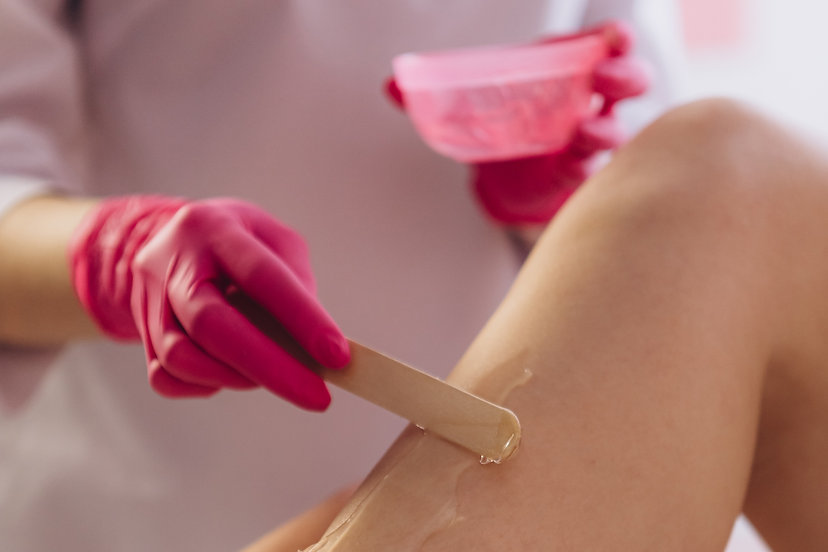 Hair removal at spa luxury studio. Woman