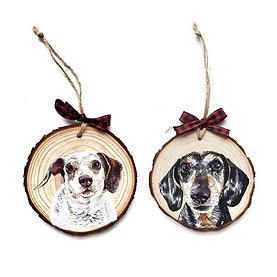 2 Wood Slice Ornament Bundle