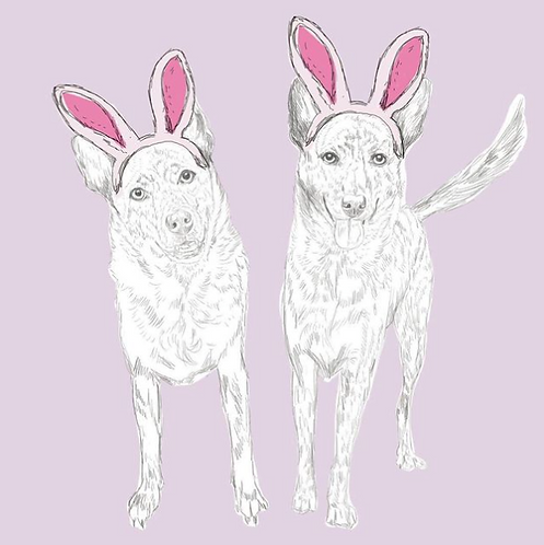 Spring Theme Digital Art (2 Pets)