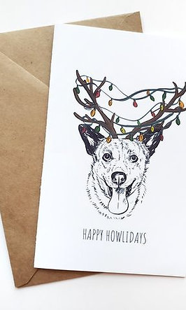 Pack of 5 Themed Greeting Cards w/ Digital Sketch