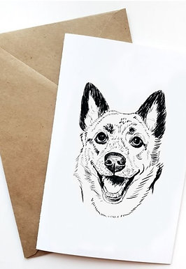Pack of 5 Greeting Cards w/ Digital Sketch