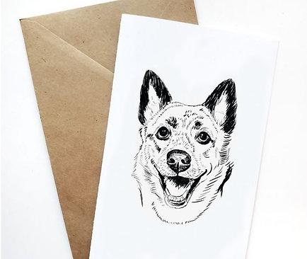 Single Greeting Card w/ Digital Sketch