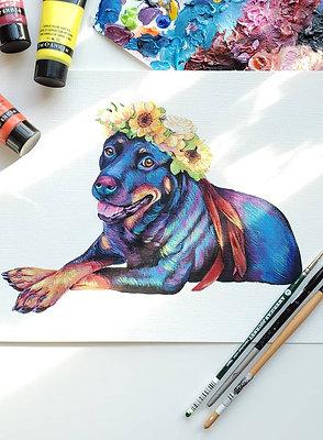 Colorful Flower Crown Custom Pet Portrait