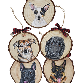 5 Wood Slice Ornament Bundle