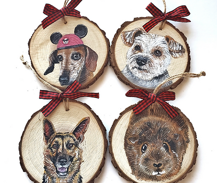 4 Wood Slice Ornament Bundle
