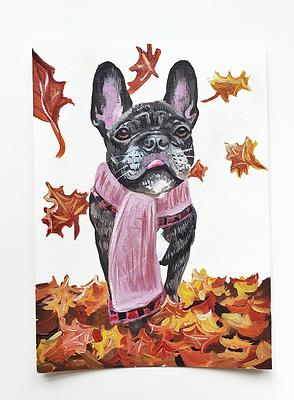 Fall Scarf and Leaves Custom Pet Portrait