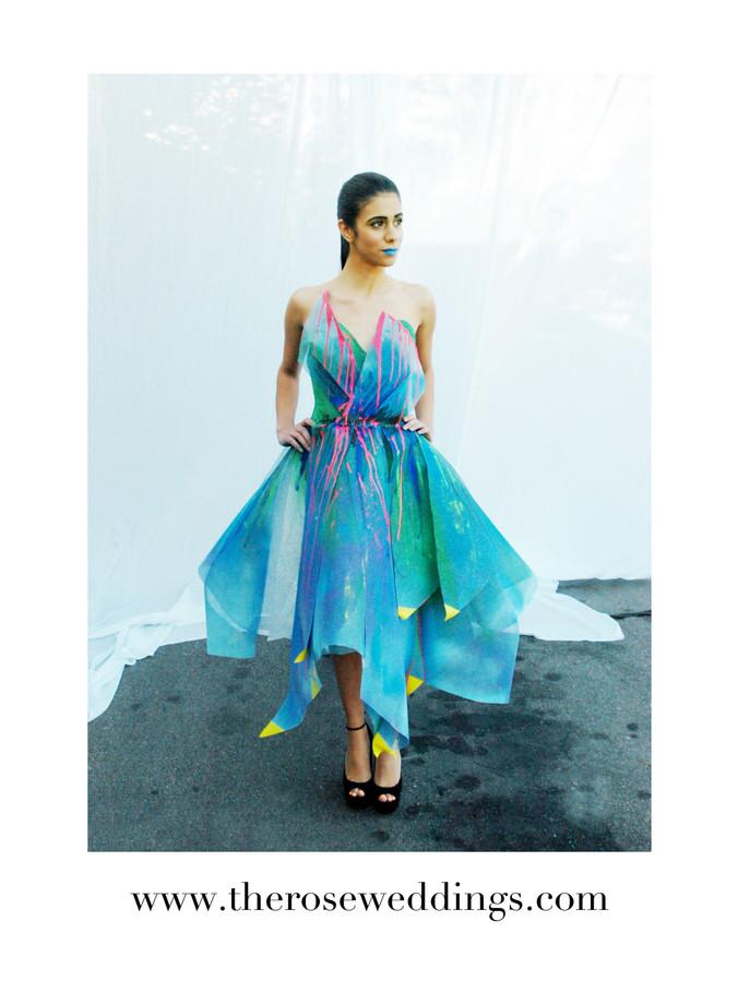 """Something Blue"" Unique Wedding Cocktail Dress by R Mine Bespoke"