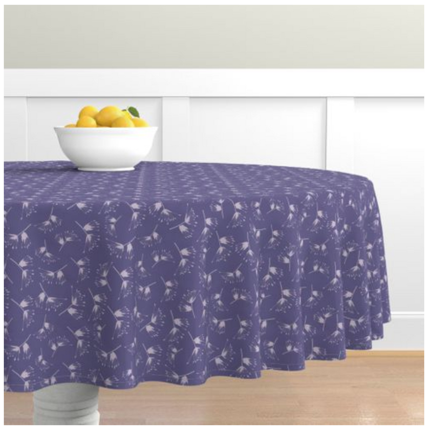 Purple Apache Plume Tablecloth with bowl of lemons