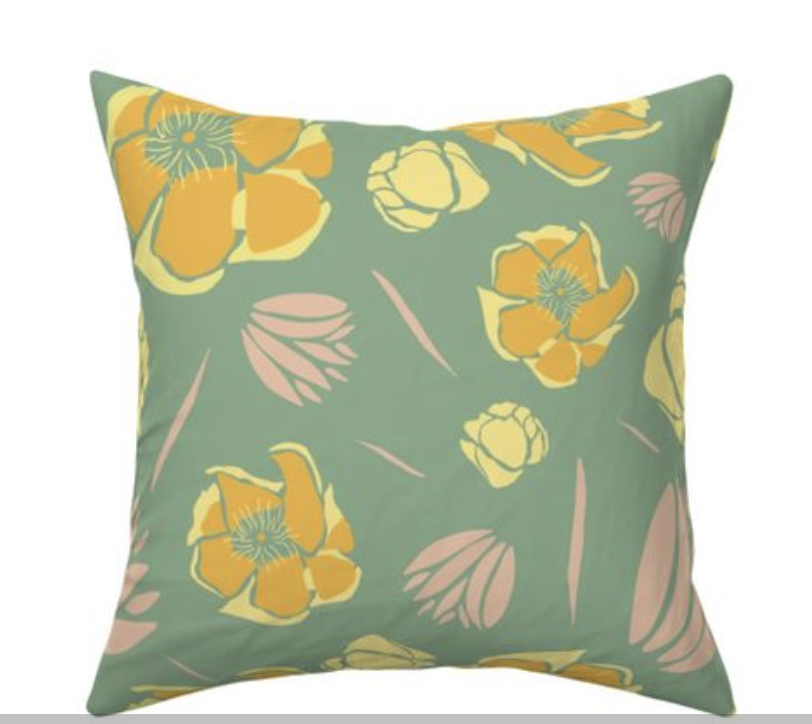 Yellow and green cactus flower pillow