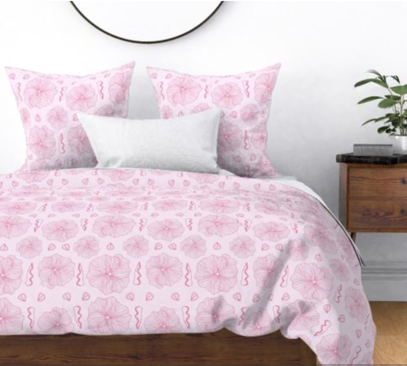 Pink hollyhock comforter and pillows