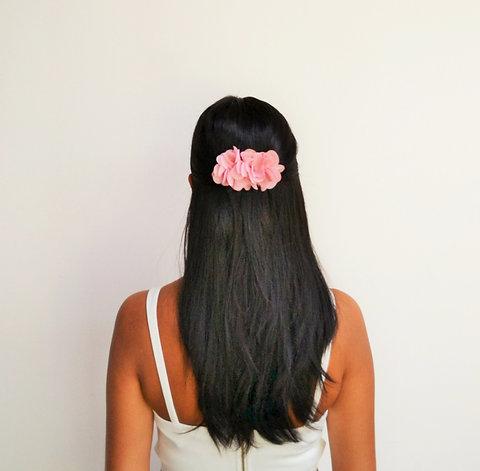 Peigne A Cheveux Mariage Boheme Fleur Rose Poudre Romantique