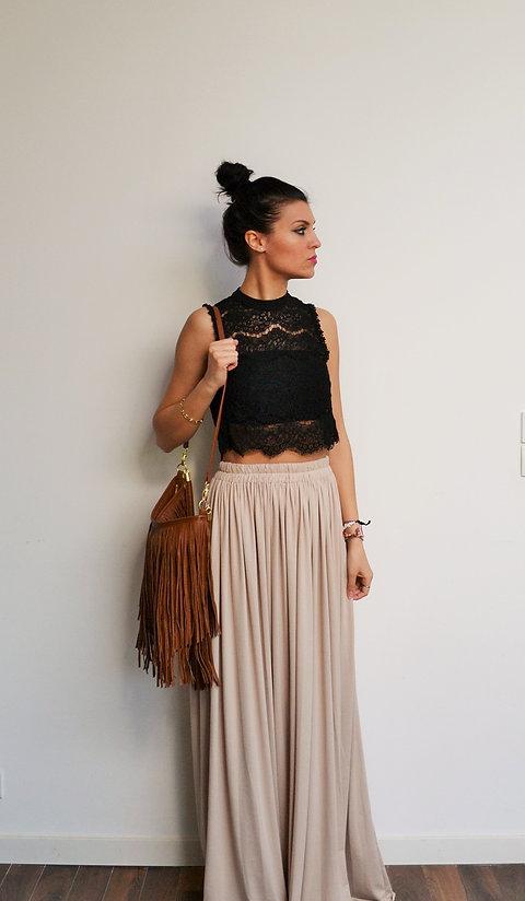 site réputé 81e61 fe2c9 Maxi jupe longue beige taille haute plissée mariage demoiselle d'honneur