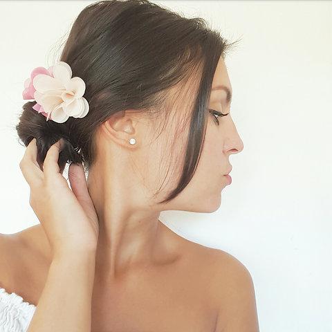 Peigne A Cheveux Fleurs Rose Et Nude Mariage Boheme