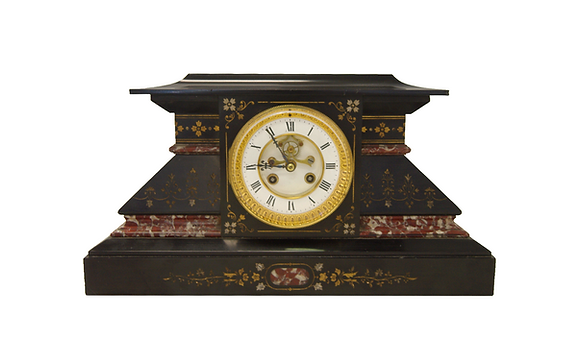 c.1880 France Belgian Clock (Red & White Marble)