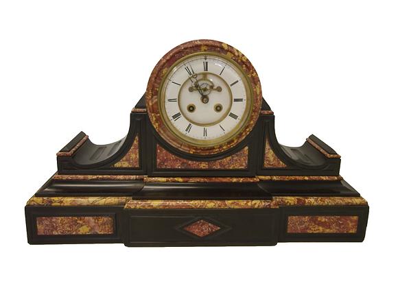 c.1880 Belgian Slate Drumhead Style Mantel Clock