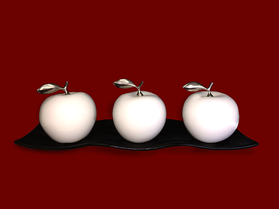 White Ceramic Apples