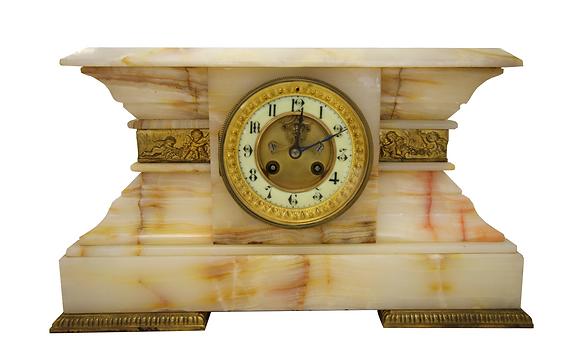 c.1880 French White Onyx Clock
