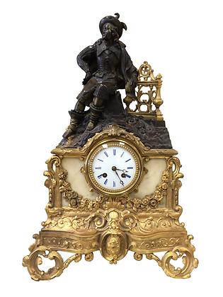 c.1850 French Ormolu Bronze & Marble Clock