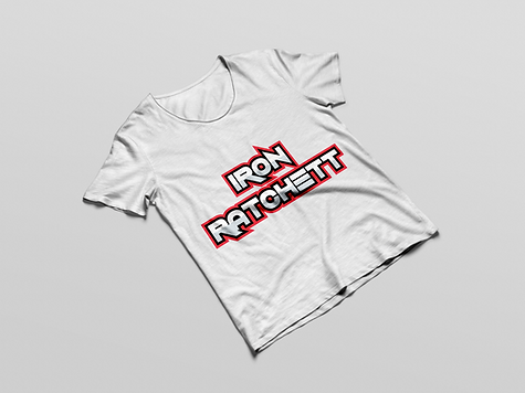 Iron Ratchett Brand White T-Shirt Mockup