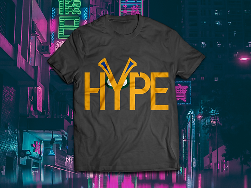 HYPE T-shirt mockup Colour on Black BG.p
