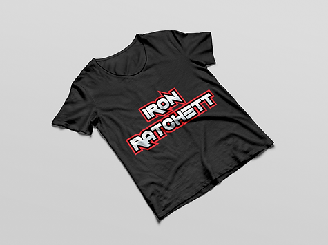 Iron Ratchett Brand Black T-Shirt Mockup