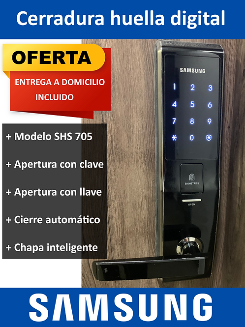 Cerradura Electronica Samsung Chapa Huella Digital Shs 705
