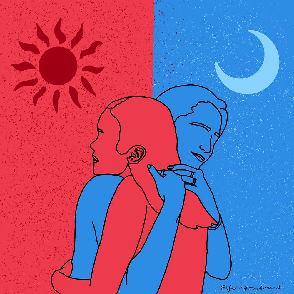 A man and a woman hugging. The man's background is red, he himself is blue. The woman's background is blue, she is red. They hug and the woman merges with the man's background, and the man with the woman's.