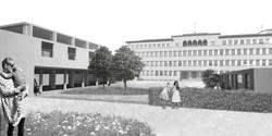 exterior view, school courtyard