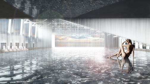 evian blue hub model public bath render
