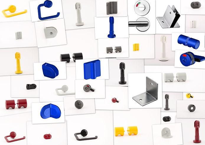 quincailleries pour cabines sanitaires, nylon hardware for toilets
