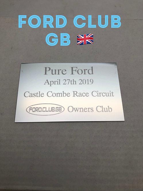 Ford Club GB PureFord  Show Plaque 2021
