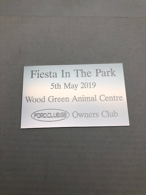 Ford Club GB Fiesta in the park Show Plaque 2019