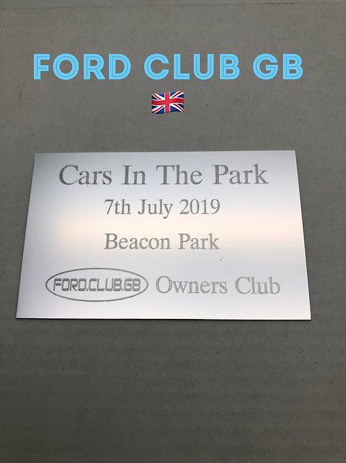 Ford Club GB Cars In The park Show Plaque 2019
