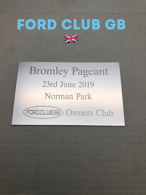 Ford Club GB Bromley Pageant  Show Plaque 2019