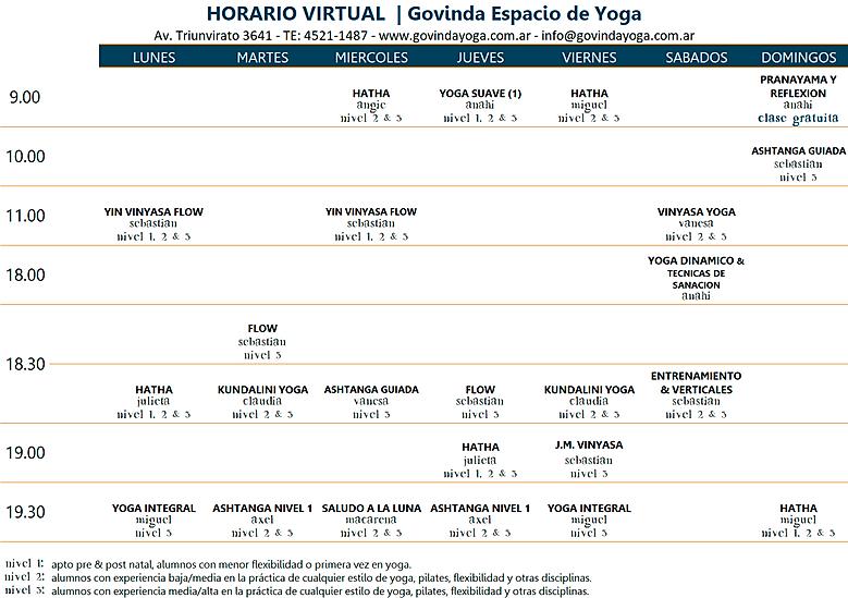Horario de Yoga Online