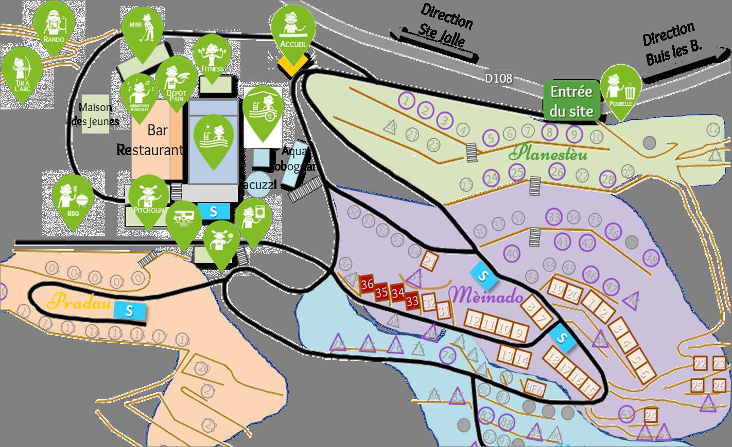Localisation des chalets Abricots